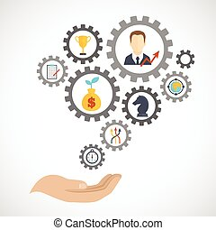 Business strategy concept with hand and planning flat icon set in gears vector illustration