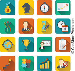 Business strategy planning icon flat with to-do list activity analysis investments isolated vector illustration