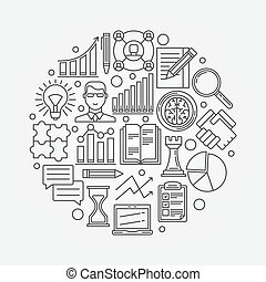 Business strategy planning illustration - vector business plan round design template made with thin line icons