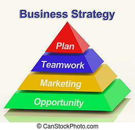 Business Strategy Pyramid Showing Teamwork And Plan