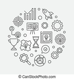 Business Strategy round vector illustration in outline style