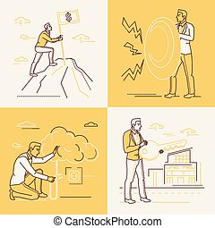 Business strategy - set of line design style illustrations