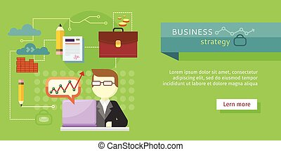 Business Strategy Web Banner. Performance Analysis