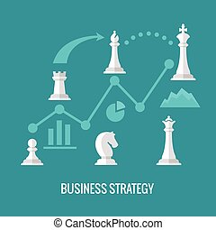 Business strategy with chess flat vector concept
