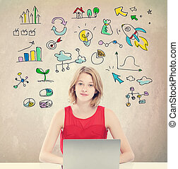 Business Strategy with young woman with laptop - Business...