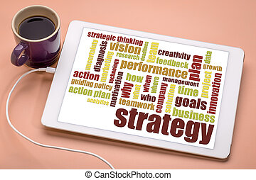 business strategy word cloud on digital tablet