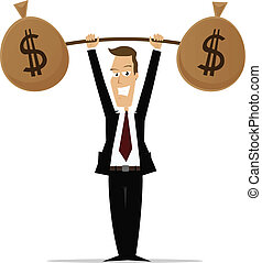 Business Strength - Cartoon businessman lifting weights made...