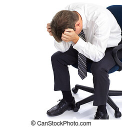 Business stress - businessman having stress. Over white...