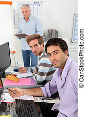 Business students using computers