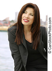 Business style - Businesswoman in grey pinstripe suit