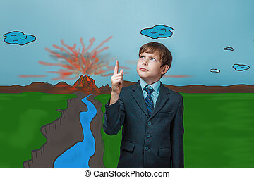business style teenage boy frowned and points a finger at the top of the volcanic eruption of lava