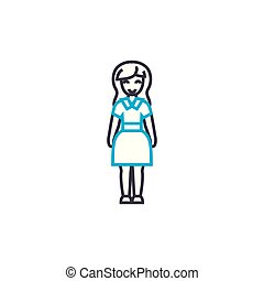 Business style woman vector thin line stroke icon. Business style woman outline illustration, linear sign, symbol concept.