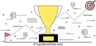 Business success and goal achievement concept line style...