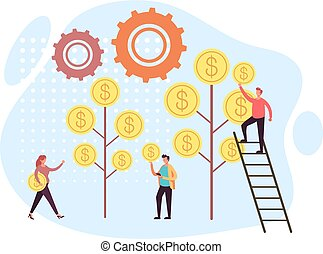 Business success and money tree concept. Vector flat graphic design illustration