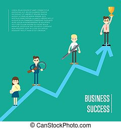 Business success banner with business peole