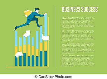 Business success banner with businessman