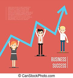 Business success banner with peole