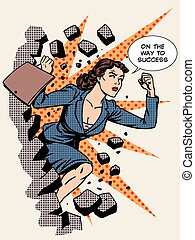 Business success businesswoman breaks the wall. Retro style...