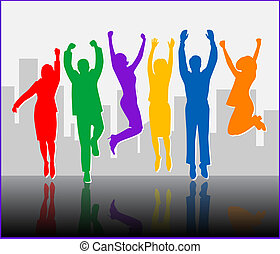 Business Success - Colorful - Young Business People....