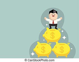 Business success concept cartoon vector illustration graphic design
