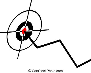 business success concept, dart in the center of a dartboard,