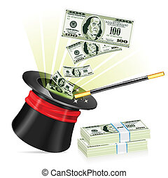 Business Success Concept - Magician Hat with Dollar Bills...