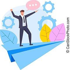 Business success concept. Vector flat cartoon design graphic illustration