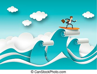 Business success concept vector poster in paper art origami style. Businessman surfing on a top of the wave. Sea waves and clouds paper cut