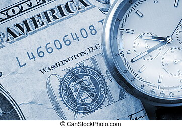 business success concept with watch and money