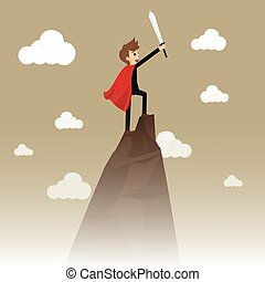 Business Success: Conceptual illustration for business success, depicting character on top of mountain. vector