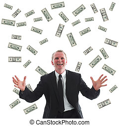 Business success - Ecstatic businessman surrounded by US...