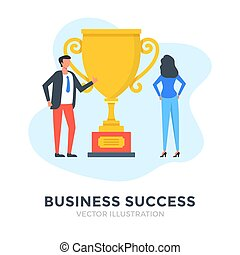 Business success. Flat design. Trophy, award, financial achievement, first place, best employee concepts. Business people and gold cup. Vector illustration