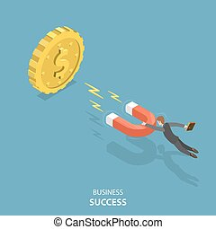 Business success flat isometric low poly vector concept.