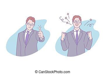 Business success, goal achievement concept. Businessman showing thumb up, successful deal, progress, breakthrough, smiling man in formal suit, happy entrepreneur. Simple flat vector