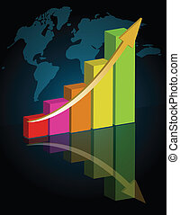 Business success - graph - Business graph with world...