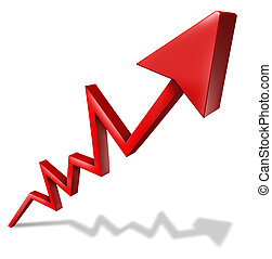 Business success graph pointing upward and rising as a...