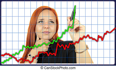 Business woman drawing graph