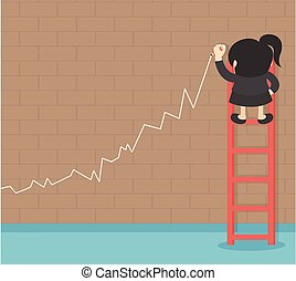 Business success growth chart. Business woman drawing graph showing profit growth on virtual
