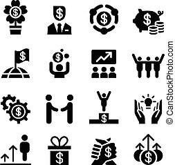Business success icon set