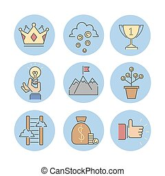 Business success icons set.