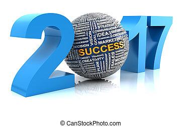 Business success in 2017, 3d render