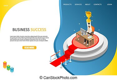 Business success landing page website vector template