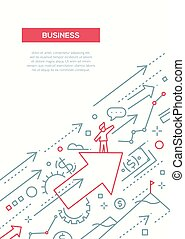 Business Success - line design brochure poster template A4...