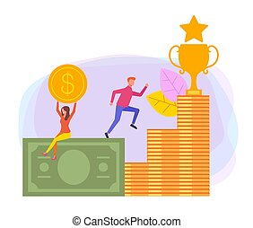 Business success money grow up concept. Vector flat cartoon design graphic illustration