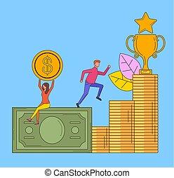 Business success money grow up line art concept. Vector flat cartoon design graphic illustration