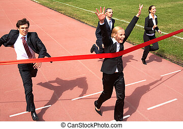 Business success - Photo of happy businesswoman crossing...