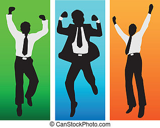 Business success silhouettes.Vector