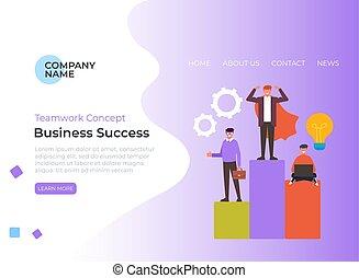 Business success steps teamwork banner poster concept. Vector flat graphic design illustration