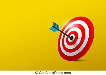 Business Success Symbol with Target on Yellow Background. Vector Red and Blue Bullseye with Dart in Center.