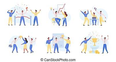 Business success, victory flat vector illustrations set